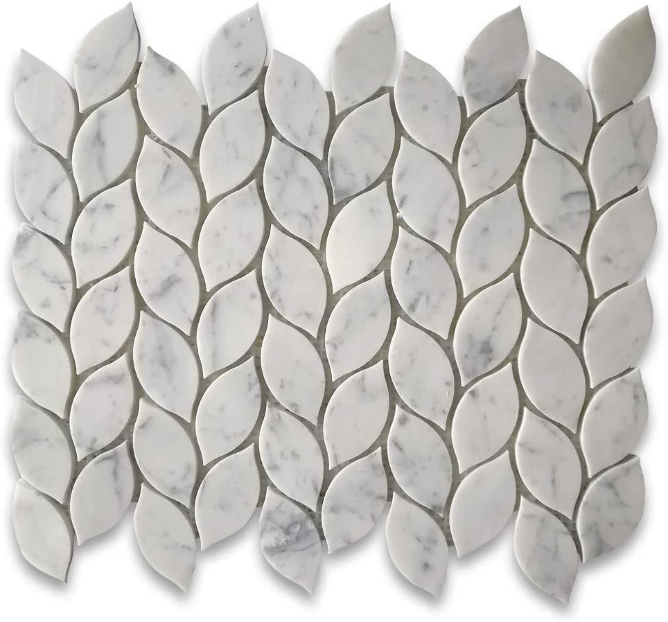 Stone Center Online Carrara White Leaf low-pricing Shape Mosaic Marble Max 72% OFF Mini