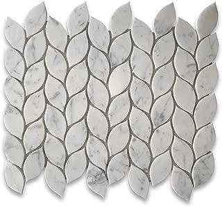 Carrara Marble White Carrera Venato Mini Leaf Shape Mosaic Tile Polished