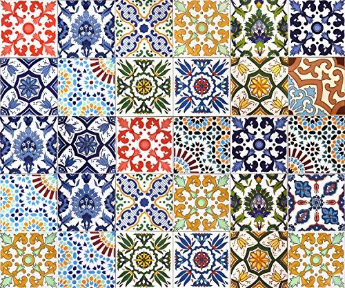30 Mattonelle MISTE in ceramica smaltata. Pacco contenente 30 mattonelle decorate 20 X 20 cm spessore 0,6 cm - Mattonelle Tunisine realizzate con Serigrafia Artigianale. Adatte a rivestimento.