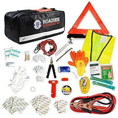 Always Prepared 125-Piece Roadside Assistance Auto Emergency Kit with Jumper Cables