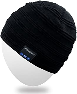Rechargeable Bluetooth Beanie Hat Fashional Short Cap w/Wireless Headphones Headsets Earpiece Speakerphone Mic for Outdoor Sports Skating Hiking Camping Skiing Snowboard - Black