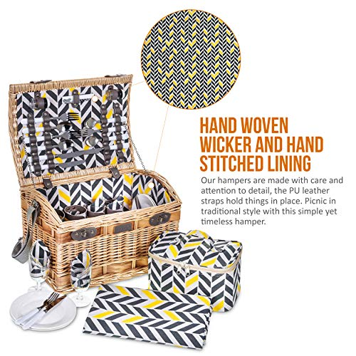 LIVIVO 4 Person Traditional Picnic Wicker Hamper Willow Basket With Cooler Bag Geo XL Extra Large Snack Drink Storage – Includes Ceramic Plates, Glasses, Cutlery, Bottle Opener, Napkins & Blanket Mat