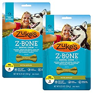 Zuke's Z-Bone Dental Chew Dog Treats – Apple – Pack of 2