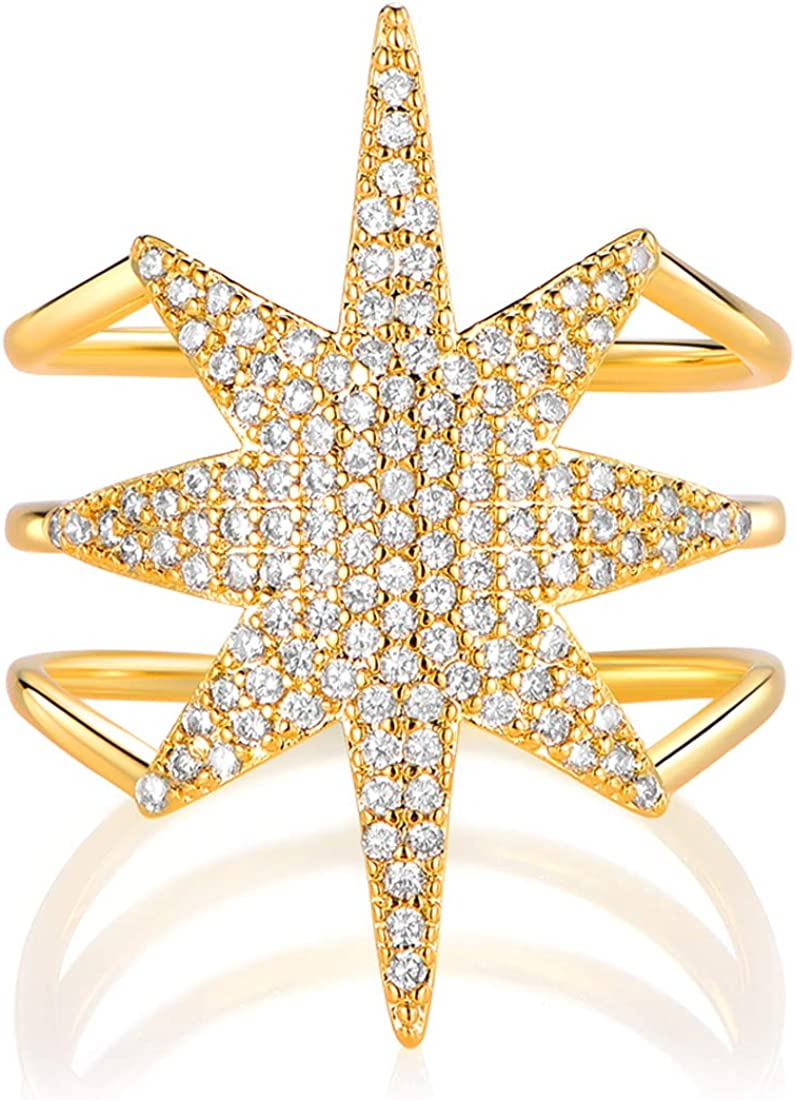 OPALBEST 14K Gold Plated Ring Simulated Diamond Cubic Zirconia Wedding Promise Rings