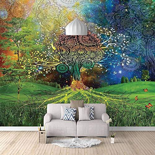 Fotomural Vinilo Para Pared Infantil Árbol Abstracto Fotomural Para Paredes | Mural | Vinilo Decorativo Decoración Comedores, Salones, Habitaciones (W200 X H150Cm)