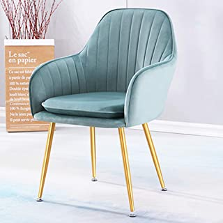 KOOU Sillas de Comedor nórdicas para el hogar, sillón de Tela de Franela Suave, Patas de Metal, sillas de Sala de Estar, para el Dormitorio, Cocina, Mesa de Comedor Silla, Verde Claro
