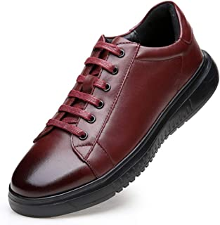 SHENTIANWEI Fashion Sneakers for Men Sports Shoes Genuine Leather Round Toe Lace up Stitch Solid Colour Casual Flat Heel Non-Slip (Color : Wine red, Size : 6.5 UK)