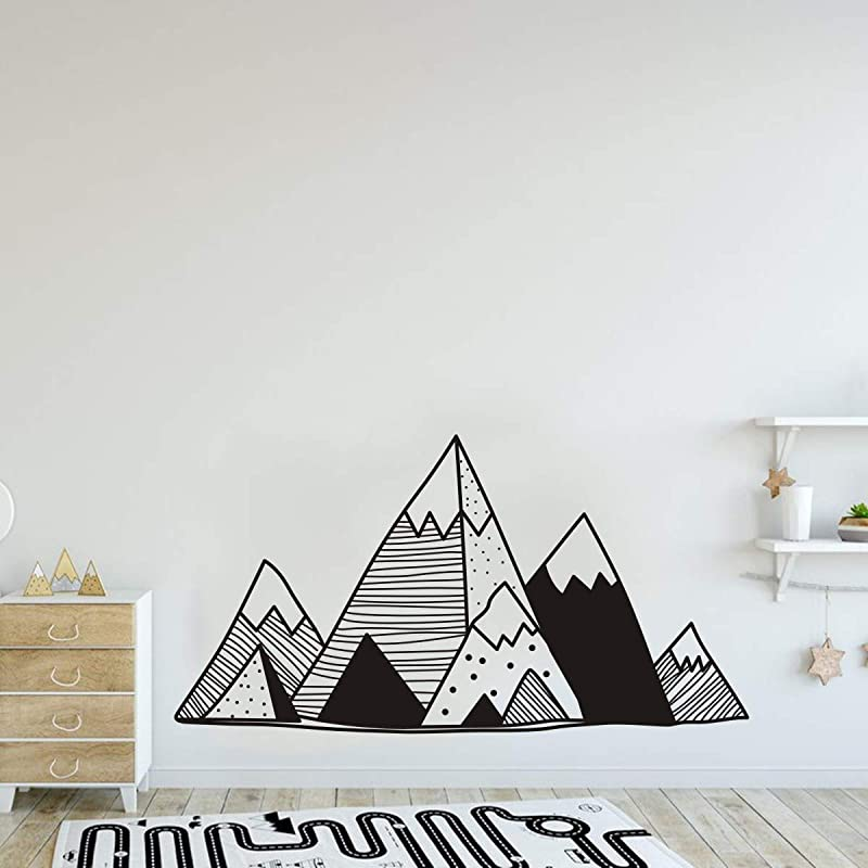 JURUOXIN Mountains Vinyl Wall Sticker Art Geometric Decoration For Home Decal Nursery Design Kids Boy Girl Playroom Bedroom Decor YMX42 Black 110x57CM