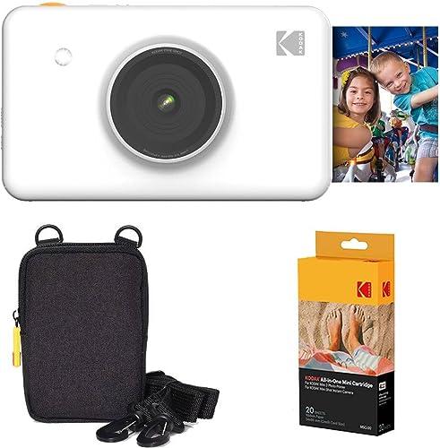popular Kodak high quality Mini Shot Instant Camera (White) Basic Bundle discount + Paper (20 Sheets) + Deluxe Case outlet sale