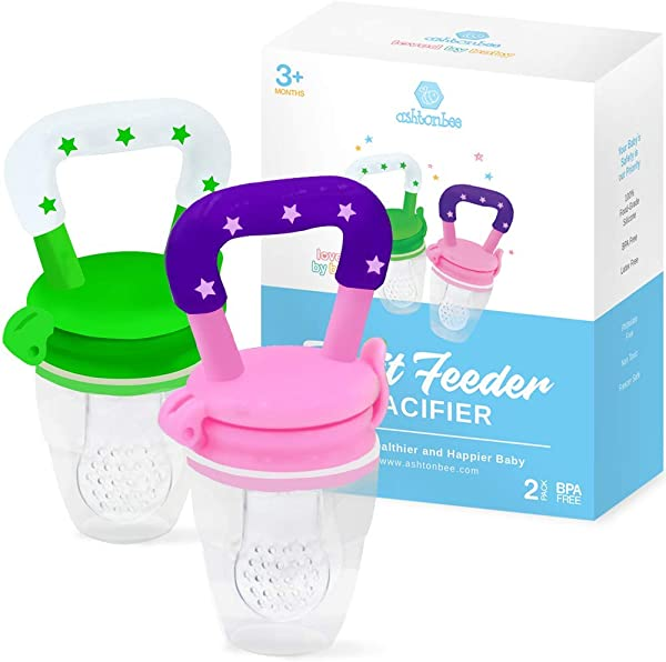 Baby Fruit Feeder Pacifier 2 Pack Fresh Food Feeder Infant Fruit Teething Toy Silicone Pouches For Toddlers Kids By Ashtonbee