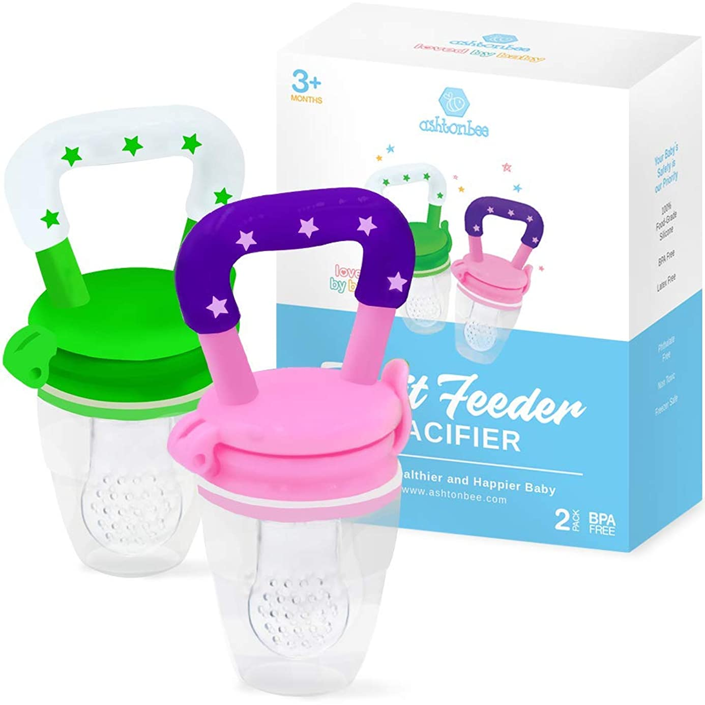 Baby Fruit Feeder Pacifier (2 Pack) - Fresh Food Feeder, Infant Fruit Teething Toy, Silicone Pouches for Toddlers & Kids by Ashtonbee