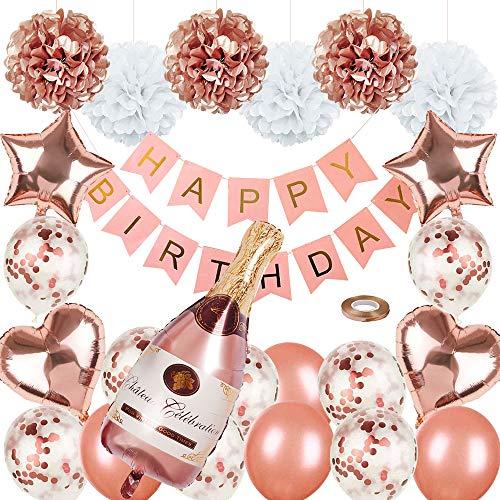 Roségold-Partydekorationen Alles Gute zum Geburtstag-Konfetti-Luftballons mit Banner, riesigen Champagnerfolien-Luftballons, Sternherz-Folienballons, Seidenpapier-Pompons