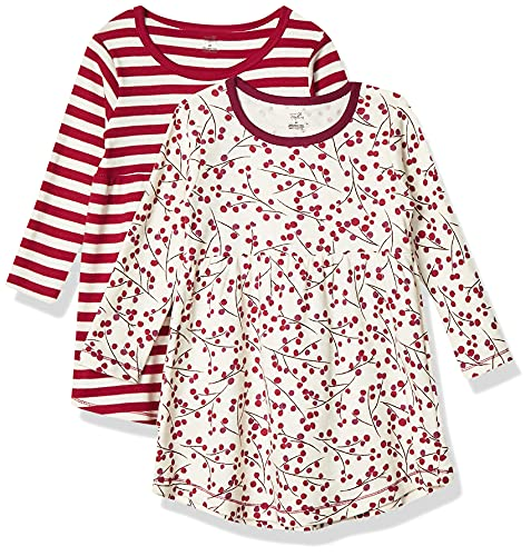 Touched by Nature Girls, Toddler, Baby and Womens Organic Cotton Short-Sleeve and Long-Sleeve Dresses, Berry Branch Long Sleeve, 8 Years