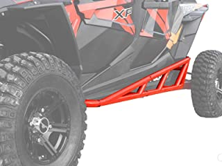 SuperATV Nerf Bars/Tree Kickers/Rock Sliders for Polaris RZR 4 900 (2015+) - Red - Compatible With Our Full Protection Kit!