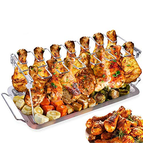 ACMEDE Hähnchenschenkel Halter mit Platz für 14 Keulen -Hähnchenkeulenhalter aus Edelstahl mit Auffangschale, Gleichmäßig Gegarte Hähnchenkeulen aus dem Backofen oder vom Grill