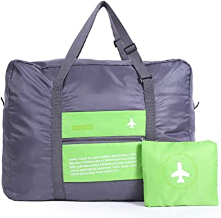 Travel Foldable & Portable Duffel Bag for Women, Men& Kids - Waterproof Lightweight Carry On Luggage, Weekender Storage Tote Large Folding Duffle Bag for Sports, Vacation, Camping (green-3-y)