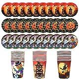 Herefun Set di Stoviglie a Tema Halloween Servizio per 30 Persone, 60Pcs Stoviglie Monouso Set da Tavola Ecologico, Halloween Forniture Feste Tema Include Piatti di Carta, Bicchieri di Carta (A)