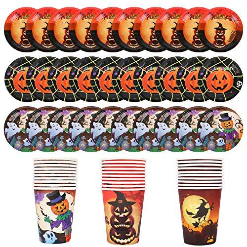 Herefun Set di Stoviglie a Tema Halloween Servizio per 30 Persone, 60Pcs Stoviglie Monouso Set da Tavola Ecologico, Halloween Forniture Feste Tema Include Piatti di Carta, Bicchieri di Carta (B)