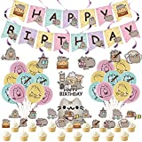 Cat Birthday Party Decorations,Cartoon Cat Themed Party Supplies Birthday Decorations for Boys Girls with Happy Birthday Banner,Cake Topper,Cupcake Toppers,Balloons,Swirls Decorations