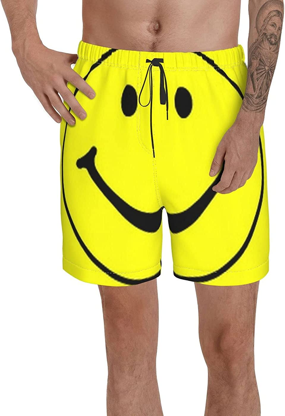 Count Yellow Smiley Face Flag Men's 3D Printed Funny Summer Quick Dry Swim Short Board Shorts with
