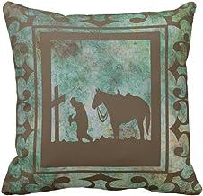 Emvency Throw Pillow Cover Cross Western Cowboy Prayer Horse Decorative Pillow Case Home Decor Square 16 x 16 Inch Pillowcase