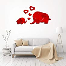 Elephant Wall Sticker,Uotmiki Cute Mirror DIY Removable Art Baby Kids Room Decor Mural Wall Sticker Decal (Red, 15 x 25 cm)