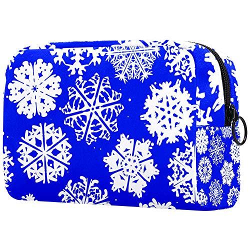 Sac à maquillage portable imprimé flocons de neige bleu