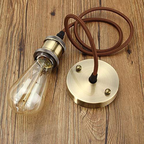 VintageⅢ E27 Lampenfassung Retro lampenaufhängung Kupfer mit baldachin Antike Pendelleuchte Vintage Hängelampe industrie deckenlampe mit 1 Meter textilkabel und Halter (Bronze)