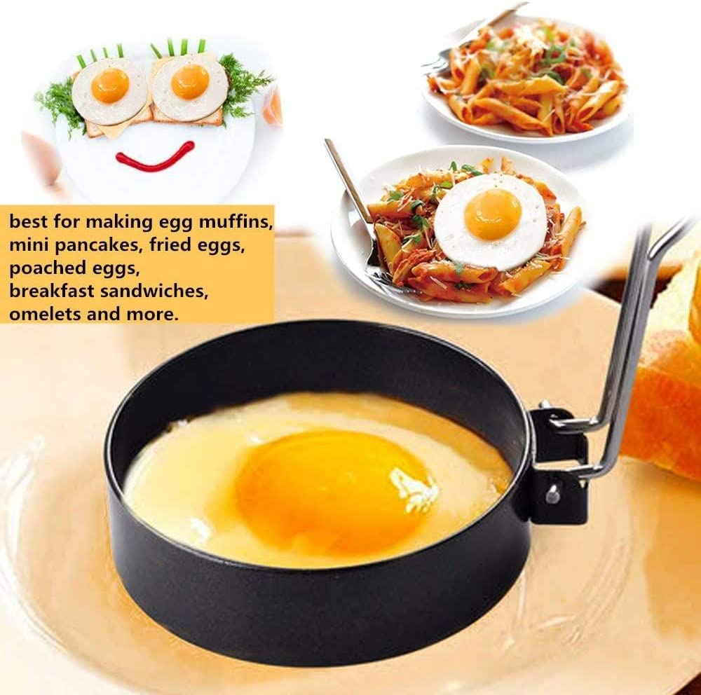 Stainless Steel Egg Ring Non Stick Circle Shaper Mold Egg Maker Molds- 4/_pack Breakfast Household Kitchen Cooking Tool for Frying Egg Mcmuffin or Sandwich Round Egg Pancake Maker Mold