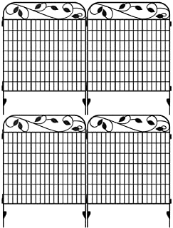 """Best Amagabeli Metal Garden Fence Border 44""""x 36""""x 4Pack Heavy Duty Tall Rustproof Decorative Garden Fencing Panels Animal Barrier Outdoor Iron Edge Fencing for Landscape Folding Flower Bed Fence Gate FC07 Review"""