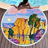Colorido árbol de montaña Lago Luna Nube Paisaje Estampado súper Suave Toalla de Playa Redonda con borlas Hermosa Franja Tiro para Acampar Blanco 59 pulgadas-blanco-59 Pulgadas