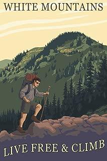 White Mountains, New Hampshire - Live Free and Climb Hiker Scene (12x18 Art Print, Wall Decor Travel Poster)