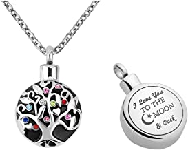 CLY Jewelry Urn Necklace for Ashes Symbol Pendant Necklace Infinity Love Black and White Cremation Jewelry for Women Men Memorial Keepsake for Family Beloved