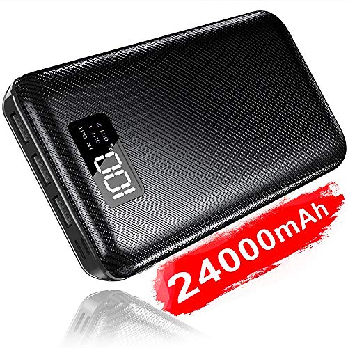Portable Charger Power Bank 24000mAh - High Capacity with LCD Digital Display,3 USB Output & Dual Input External Battery Pack Compatible with Smart Phones,Android Phones,Tablet and More (Black)