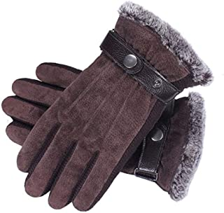 Mens PU Leather Gloves Touchscreen Gloves Driving Gloves Black Winter Warm Gloves (Color : Brown, Size : One Size)