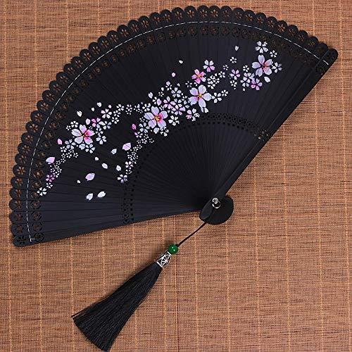 CLL Abanico Chino Tallado Hueco Estilo japonés Antiguo señoras Plegables Abanico Hecho...