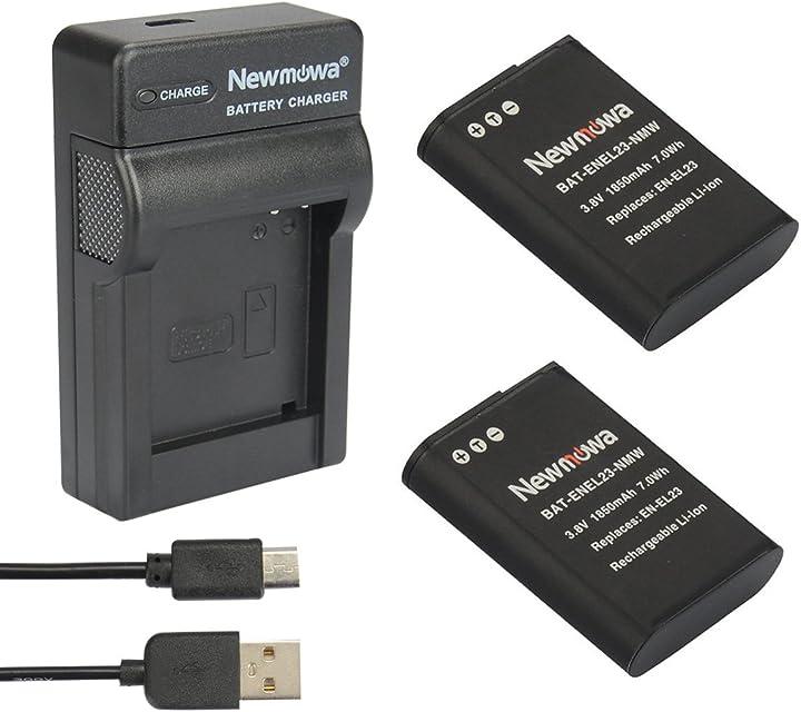 Newmowa EN-EL23 Reemplazo Batería (2-Pack) y Kit Cargador Micro USB portátil para Nikon EN-EL23 y Nikon Coolpix P600S810CCoolpix P900