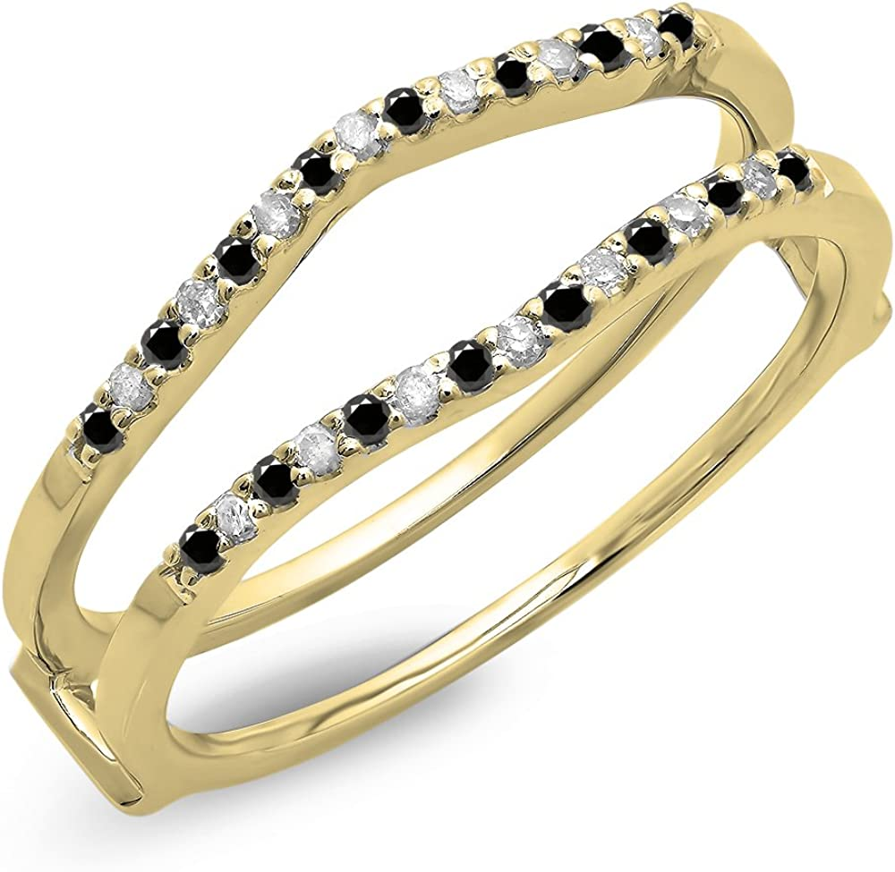 0.18 Carat (ctw) 14K Gold Round Black & White Diamond Ladies Wedding Band Enhancer Guard Double Ring