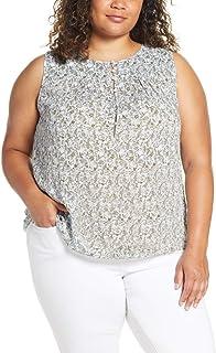 Lucky Brand Womens 7Q45290 Plus Size Ditsy Print Tank Top Sleeveless Shirt - Gray