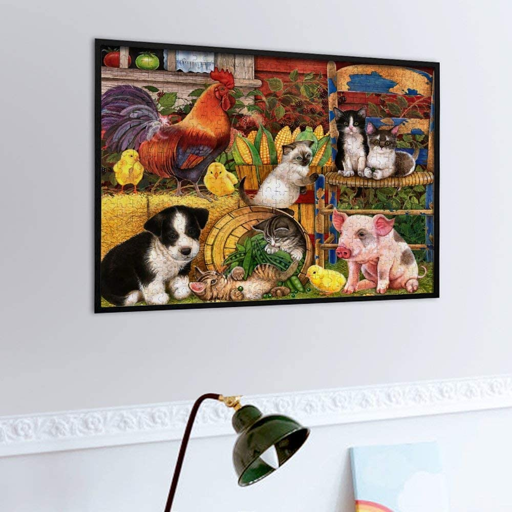 Jigsaw Puzzle for Adults 500 Pieces Cat Family Animal Vivid Oil Painting Leisure Creative Games Wooden Puzzle Game Artwork for Adults Teens Children Toys Gift