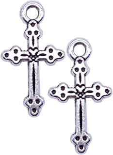 100pcs Silver Plated Peace Cross Charms Pendants Jewelry Making DIY Charm Crafts Handmade 9x16mm (100pcs)