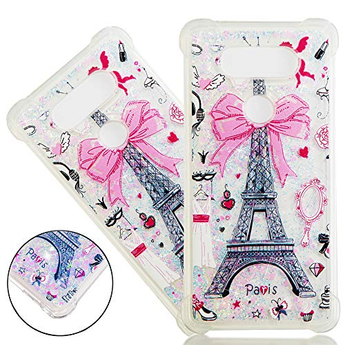 ISADENSER LG V20 Case Clear LG V20 Case [Clear Silicone] [Shock Absorption] Soft TPU Glitter Stylish Design with 3D Hearts Quicksand Shiny Flowing Liquid Protective Cover for LG V20 Paris Tower