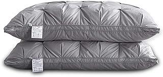 Tela de algodón 95 % plumón blanco de ganso, almohada de plumón blanco, se puede utilizar durante todo el año, 48 x 74 gris claro.