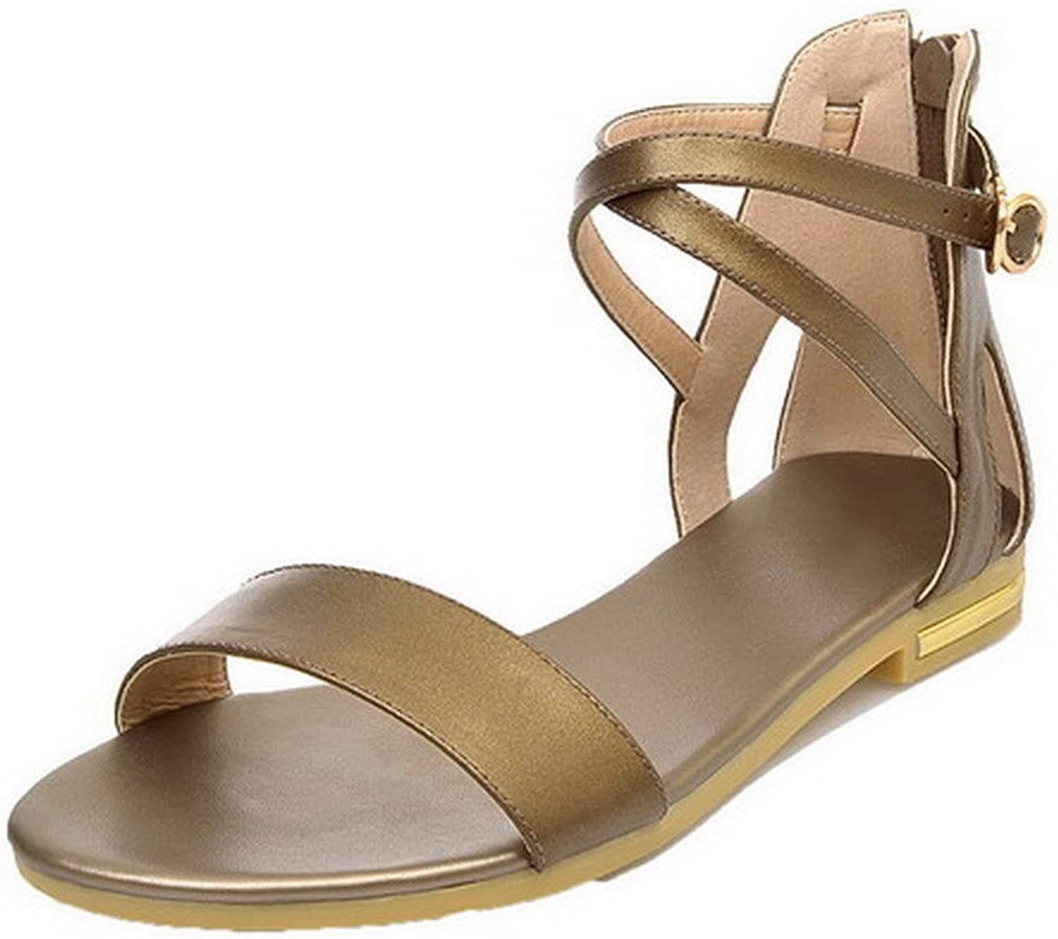 WeenFashion Women's PU Zipper Open Toe Low-Heels Solid Sandals, gold, 39