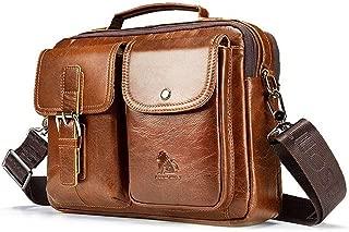Popoti Men's Shoulder Bag, Leather Handbag Bag, Briefcase, Laptop Bag School Bag Multifunctional Waterproof Vintage Crossbody Messenger Bag, 28cm (Brown B)