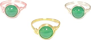 COLORFUL BLING 3Pcs Set Crystal Bead Knuckle Stackable Finger Ring Gold Silver Wire Wrap Crystal Ring Healing Crystal for ...