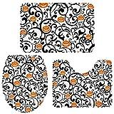 3 Pieces Bathroom Rugs and Mats Sets, Non Slip Water Absorbent Bath Rug, Toilet Seat/Lid Cover, U-Shaped Mat, Home Decor Doormats - Orange Pumpkins and Bats Halloween Theme