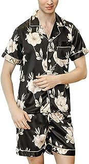 Men's Pajamas Two Piece Set Summer Fashion Soft Satin Comfortable Sizes Nightwear Short Sleeve Lapel Floral Printing Vinta...