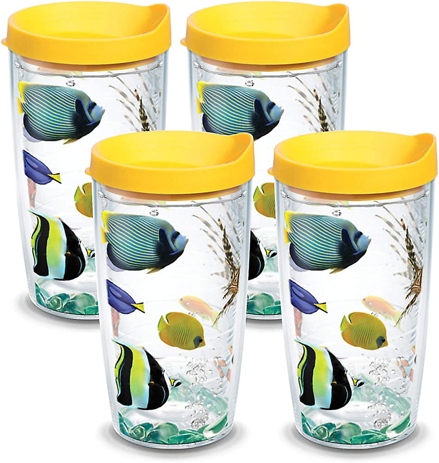 Tervis 1133377 Tropical Fish Tumbler with Wrap and Yellow Lid 4 Pack 16oz, Clear