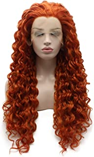 Iewig Long Curly Reddish Blonde Heat Friendly Wig Natural Looking Synthetic Lace Front Wig